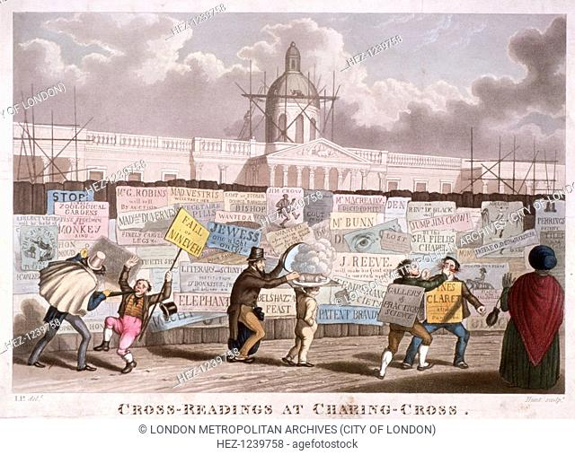 'Cross-readings at Charing-Cross', London, 1835. View of the National Gallery in Trafalgar Square shown under construction