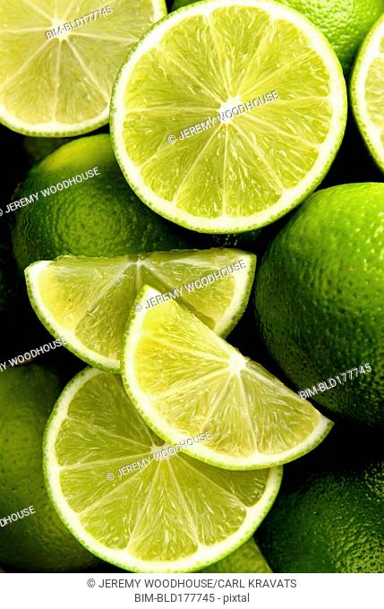 Close up of sliced limes