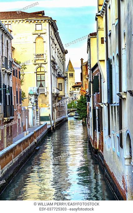 Colorful Small Canal Bridge Buildings Boats Reflections Venice Italy