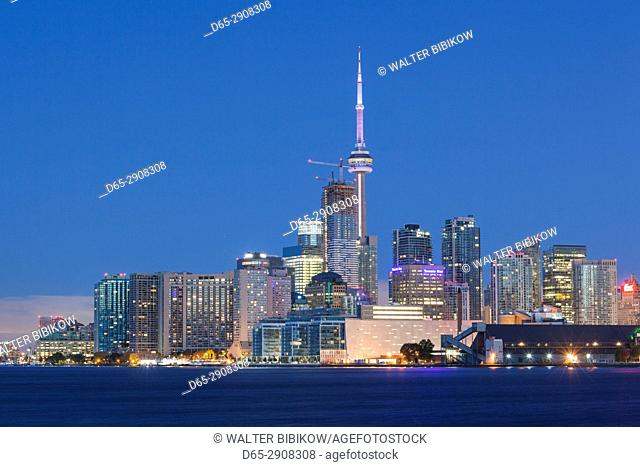 Canada, Ontario, Toronto, skyline from Polson Pier, dawn