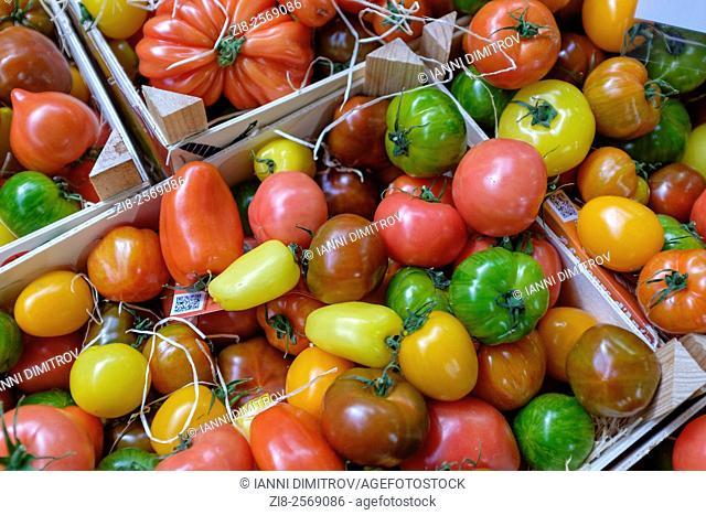 Organic tomatoes on sale-different shapes and sizes ,Borough Market,London,UK