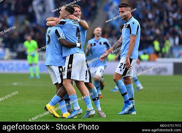 Lazio football player Bartolomeu Quissanga Jacinto Bastos celebrating after score the goal during the match Lazio-Sampdoria in the olimpic stadium