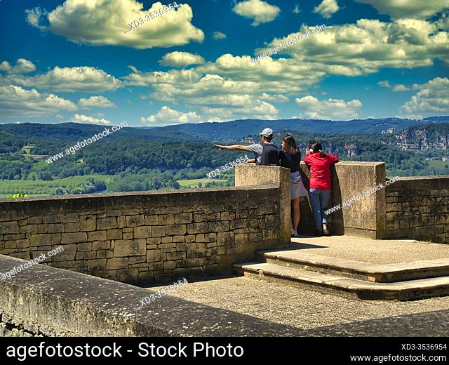 three people enjoying view of Dordogne valley from Domme, Domme, Dordogne Department, Nouvelle Aquitaine, France