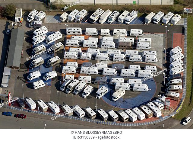 Aerial view, motor homes and caravans in a sales exhibition, motor homes and caravans trader