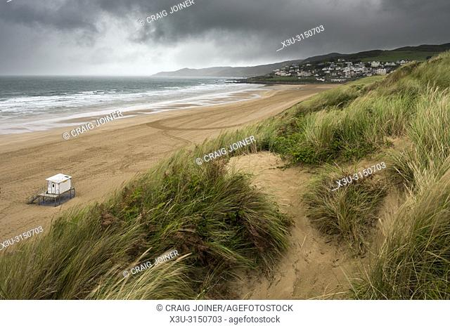 The sand dunes overlooking Woolacombe Sand on the North Devon coastline, England