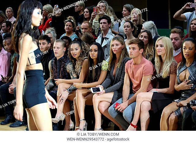 London Fashion Week Spring/Summer 2017 - Julien MacDonald - Arrivals Featuring: Ella Eyre, Leigh-Anne Pinnock, Abbey Clancy, Tom Daley