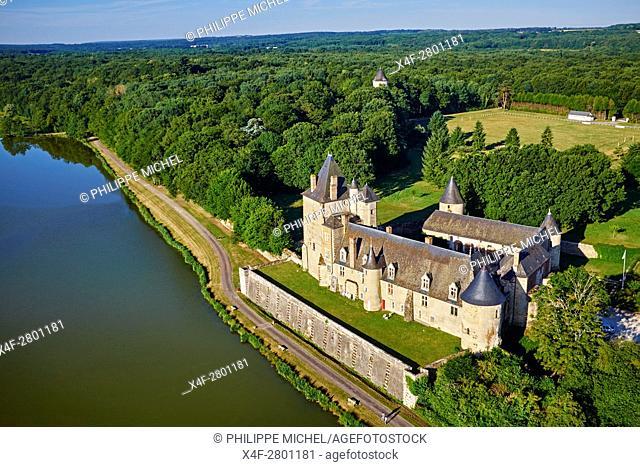 France, Cher (18), Berry, the Jacques Coeur road, Chateau de la La Chapelle d'Angillon castle, aérial view