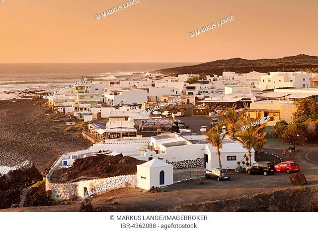 Fishing village of El Golfo at sunset, Lanzarote, Canary Islands, Spain