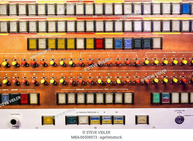 England, London, South Kensington, Science Museum, Ferranti Atlas Computer Console dated 1964