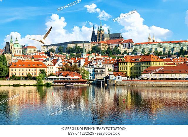 View on Old city and St Vitus Cathedral in Prague