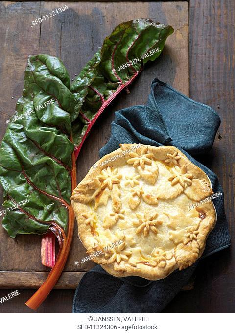 Chard pie and fresh chard leaves