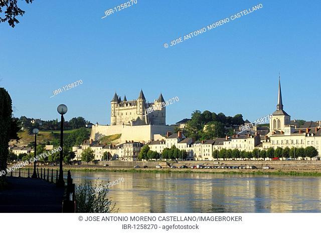 Loire River, Saumur Castle, Chateau de Saumur, and St. Pierre Church, Maine-et-Loire, Saumur, Loire Valley, France, Europe