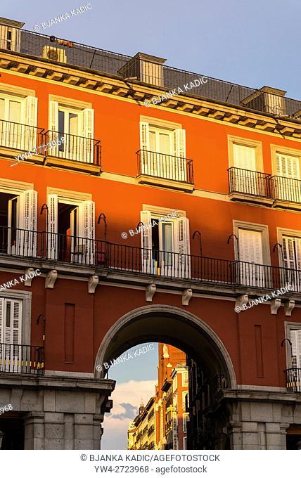 Plaza Mayor, landmark square built in 17th century, Madrid, Spain