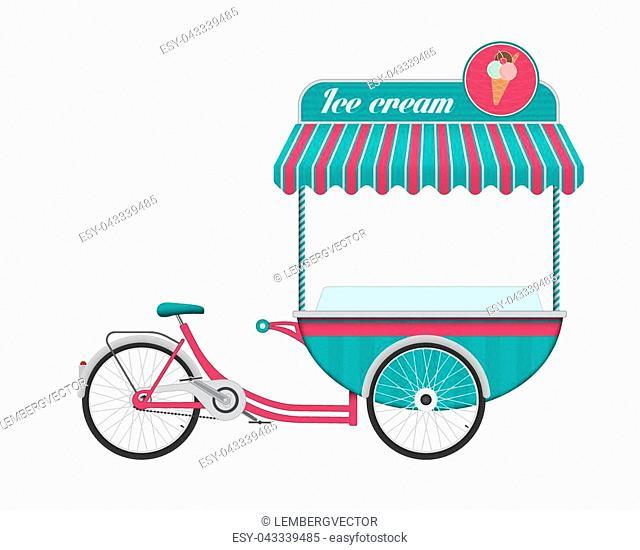 Vintage ice cream cart bus vector illustration