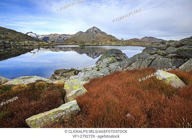Autumnal view of Laghi Azzurri and Peak Tambò Chiavenna Valley Spluga Valley Valtellina Lombardy Italy Europe