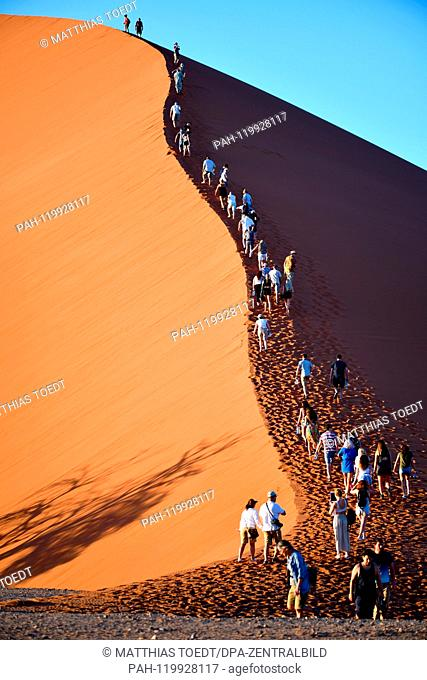Tourists begin the rise of a dune in Sossusvlei shortly before sunrise, taken on 01.03.2019. The Sossusvlei in the Namib-Naukluft National Park has been a...