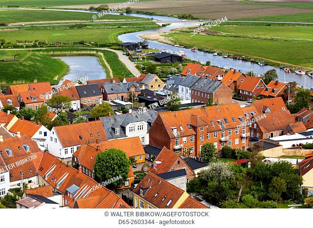 Denmark, Jutland, Ribe, elevated town view from Ribe Domkirke Cathedral tower