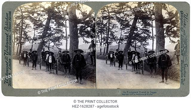 How foreigners travel in Japan, 1896. Westerners riding in rickshaws. Stereoscopic slide