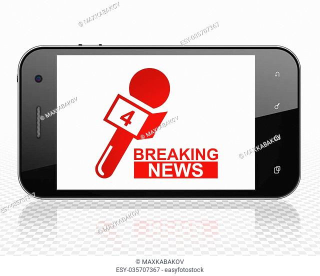 News concept: Smartphone with red Breaking News And Microphone icon on display, 3D rendering