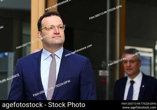 13 July 2020, Berlin: Jens Spahn (l, CDU), Minister of Health, and Lothar Wieler, President of the Robert Koch Institute (RKI), come to a joint press conference