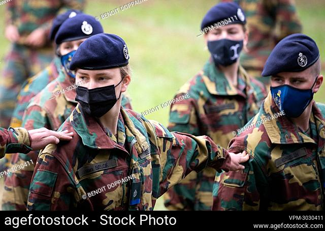 Crown Princess Elisabeth pictured during a tactical military exercice of the Royal Military Academy at the Lagland camp in Arlon on Friday 09 July 2021