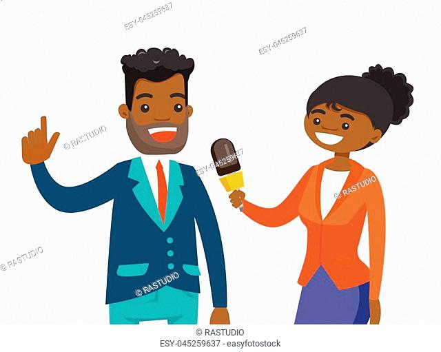 Young african-american female reporter with microphone interviewing a man. Journalist making an interview with businessman
