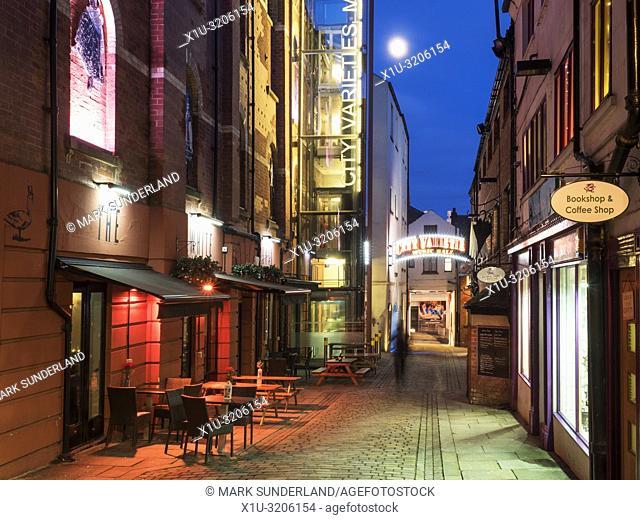 City Varieties restored 19th century music hall at dusk on Swan Street in Leeds West Yorkshire England
