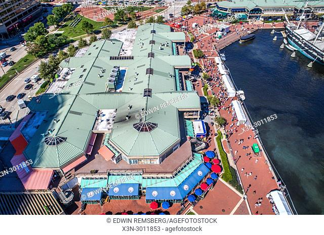 Aerial view of the Baltimore Inner Harbor shopping mall, Baltimore, Maryland