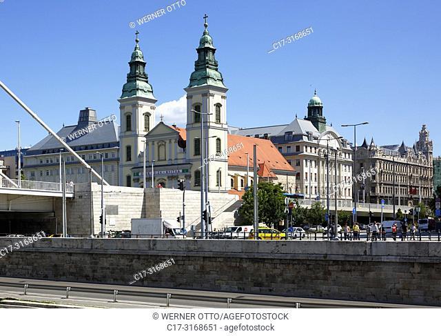 Budapest, Hungary, Central Hungary, Budapest, Danube, Capital City, Danube riverwalk, Downtown Parish Church, Church of Our Lady, catholic church, baroque