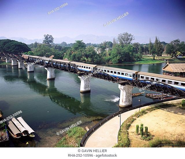 The Death Railway bridge on the River Kwai Saphan Mae Nam Khwae Yai, Kanchanaburi, Kanchanaburi Province, Thailand, Southeast Asia, Asia