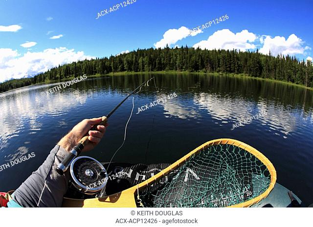 Trout fishing from float-tube, Duckbill Lake, Smithers, British Columbia, Canada