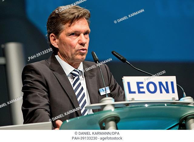 Chief Executive Officer of cables manufacturer Leoni AG, Klaus Probst, talks during the general meeting of the company in Nuernberg, Germany, 30 April 2013