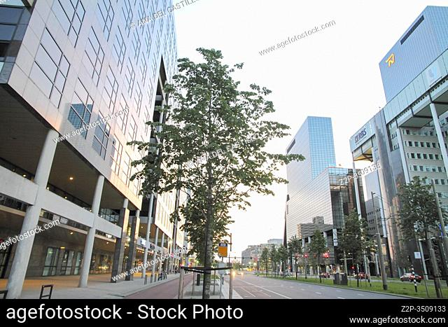 ROTTERDAM, NETHERLANDS - JUNE 6: This city is the architectural capital of the Netherlands on June 6, 2014 in Rotterdam. Very spectacular new building projects...