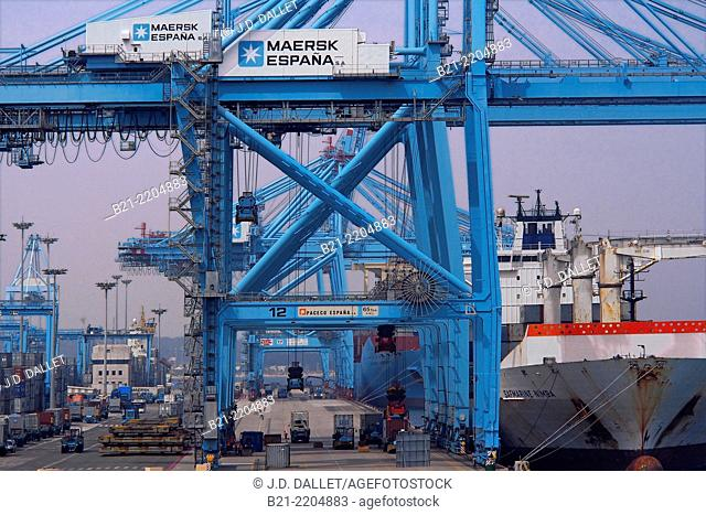 APM Terminals for containers at the harbour of Algeciras, Cadiz province, Andalusia, Spain