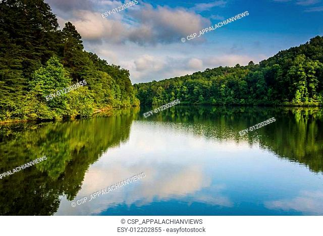 Evening reflections at Lake Oolenoy, Table Rock State Park, Sout