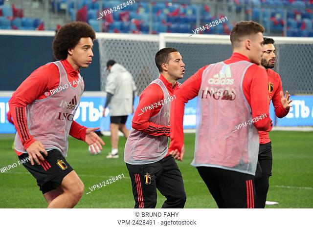 Belgium's Axel Witsel and Belgium's Eden Hazard pictured during a training session of Belgian national soccer team the Red Devils, Friday 15 November 2019
