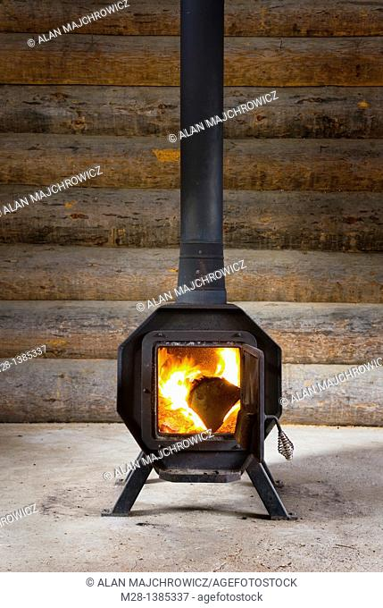 Wood Stove in log warming hut