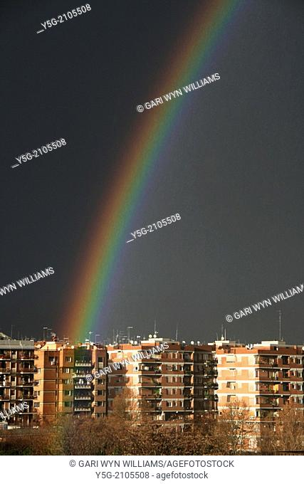Rome, Italy. 19th Jan 2014 Rainbow appears after storm in Rome Italy