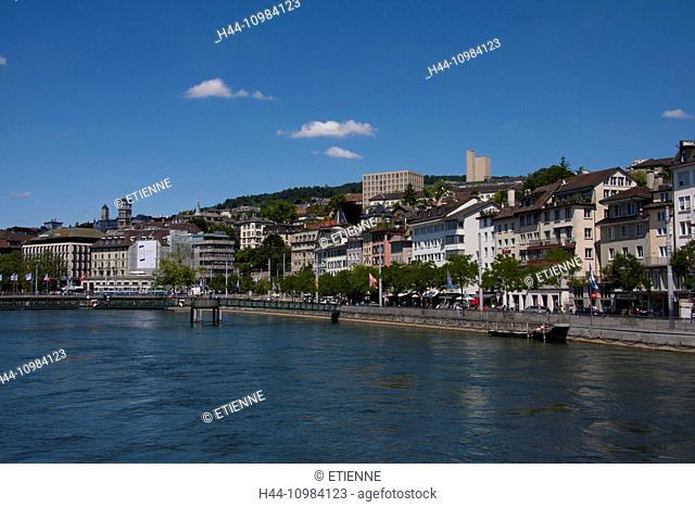 Zurich, Switzerland - old town and river Limmat