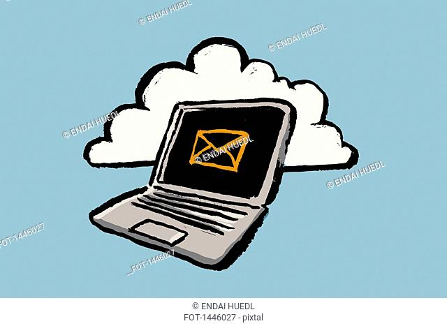 Illustration of laptop with e-mail sign and cloud against blue background
