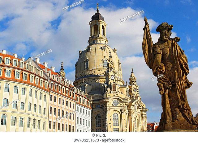 Church of Our Lady and Fountain Figure Goddess of Victory, Germany, Saxony, Dresden