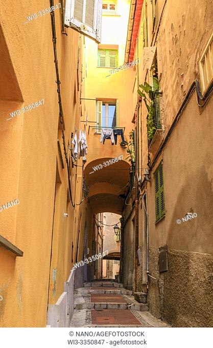 France, Alpes Maritimes, Menton, alley with steps in the old town