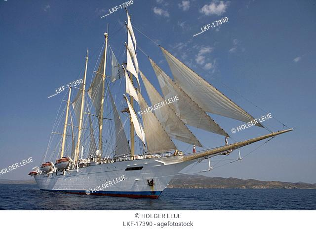 Star Flyer under Full Sail, near Hydra, Aegean Sea, Hydra, Idhra, Saronic Islands, Greece