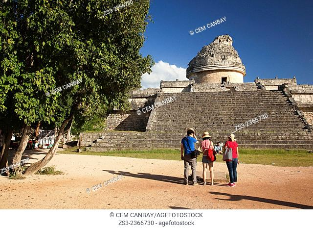 Tourists near El Caracol, the Observatory at Chichen Itza Ruins, Chichen Itza, Yucatan Province, Mexico, Central America