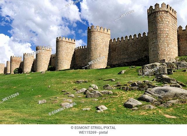 Europe, Spain, Castile and Leon, Castilia y Leon, Avila, Unesco World Heritage Site, medieval city wall