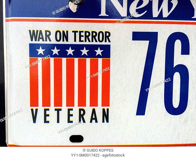 New York City, USA. Licence plate of a veteran on the war against terror