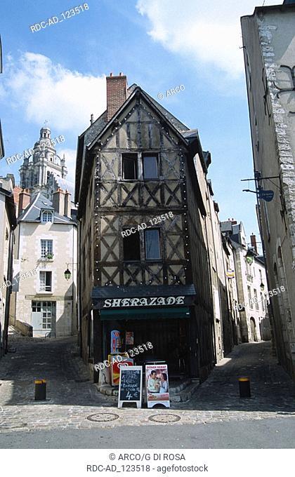 Rue du Puits Chatel old part of Blois Centre France Loire valley