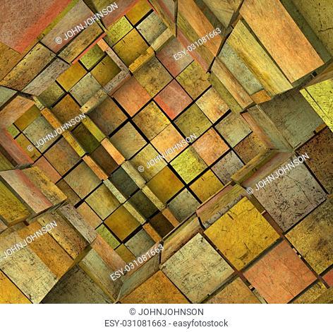 3d fragmented tiled mosaic labyrinth in orange pink