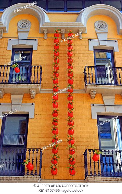 building facade decorated, Temps de Flors 2018, Girona, Catalonia, Spain