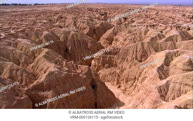 Aerial footage of arid area near Neot Hacicar in the Negev Desert